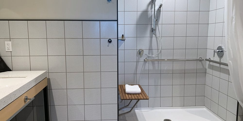 accessible bathrooms with roll-in showers
